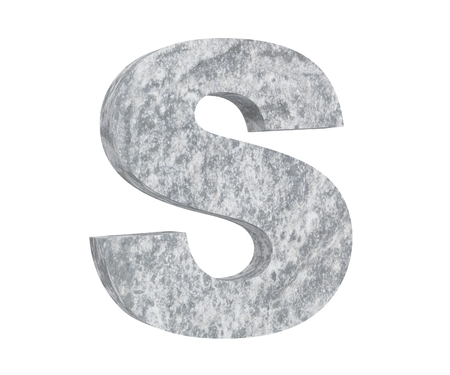 Concrete Capital Letter - S isolated on white background. 3D render Illustration 写真素材
