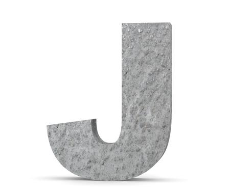 Concrete Capital Letter - J isolated on white background. 3D render Illustration