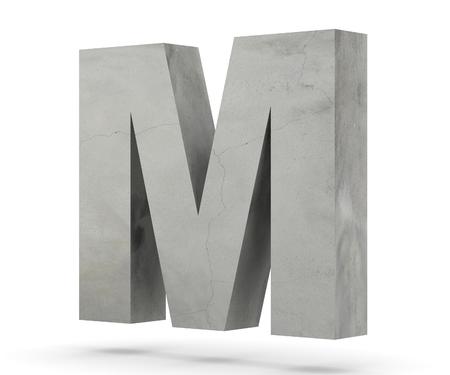 Concrete Capital Letter - M isolated on white background. 3D render Illustration Foto de archivo