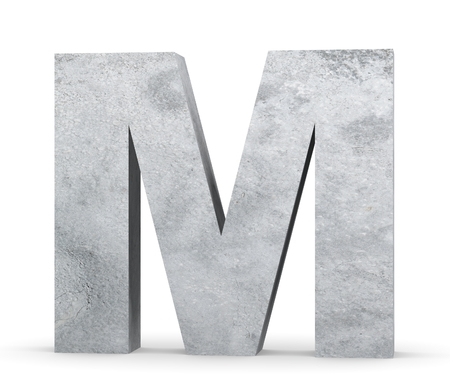 Concrete Capital Letter - M isolated on white background. 3D render Illustration Reklamní fotografie