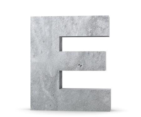 Concrete Capital Letter - E isolated on white background. 3D render Illustration Zdjęcie Seryjne