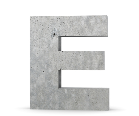 Concrete Capital Letter - E isolated on white background. 3D render Illustration Foto de archivo