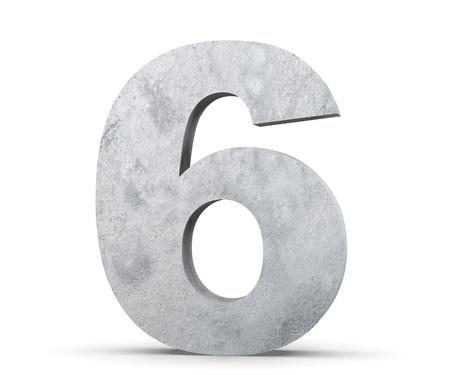 3D rendering concrete number 6. 3D render Illustration. Foto de archivo