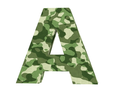 Camouflage letter. Capital Letter - A isolated on white background. 3D render Illustration