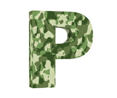 Camouflage letter. Capital Letter - P isolated on white background. 3D render Illustration Banco de Imagens