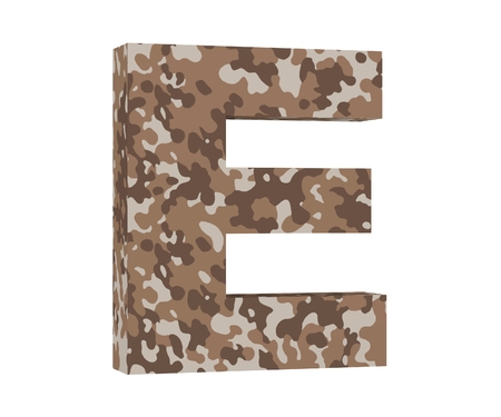 Camouflage letter. Capital Letter - E isolated on white background. 3D render Illustration Imagens