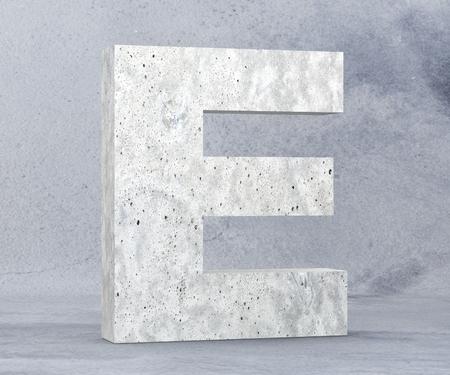 Concrete Capital Letter - E isolated on white background. 3D render Illustration Stock Photo