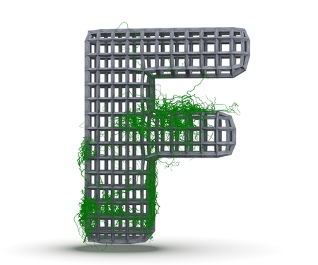 Concrete Capital Letter - F from which the vine grows, isolated on white background. 3D render Illustration