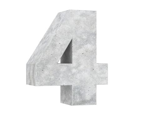 3D rendering concrete number 4. 3D render Illustration.