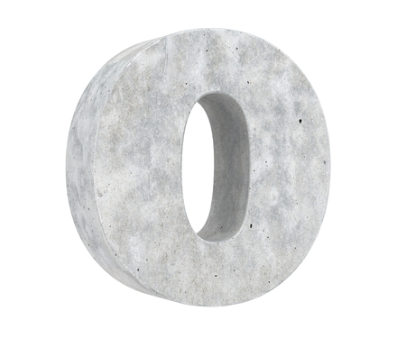 Concrete Capital Letter - O isolated on white background. 3D render Illustration
