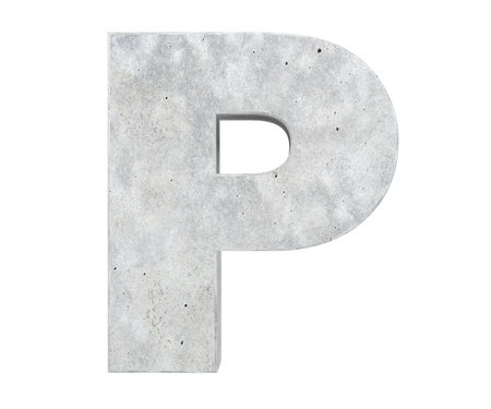 Concrete Capital Letter - P isolated on white background. 3D render Illustration