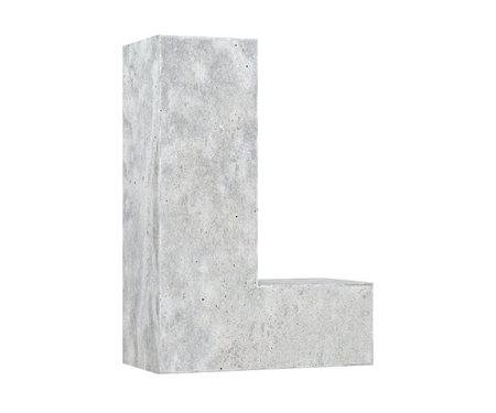 Concrete Capital Letter - L isolated on white background. 3D render Illustration
