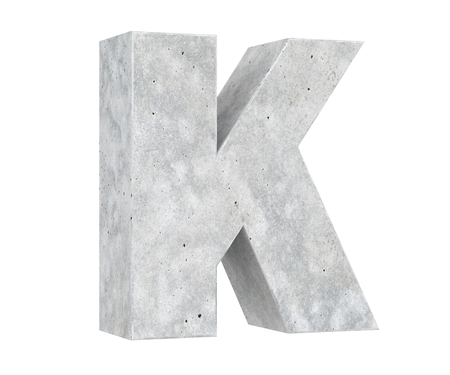 Concrete Capital Letter - K isolated on white background. 3D render Illustration