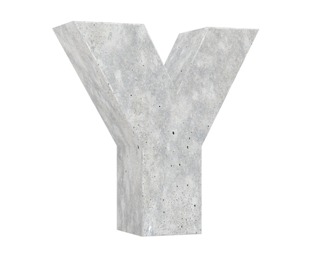 Concrete Capital Letter - Y isolated on white background. 3D render Illustration