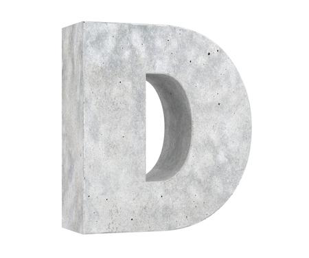 Concrete Capital Letter - D isolated on white background. 3D render Illustration