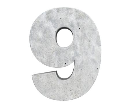 3D rendering concrete number 9. 3D render Illustration.