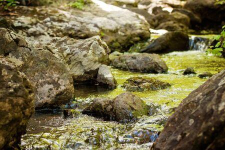 Mountain stream between moss covered stones Banco de Imagens
