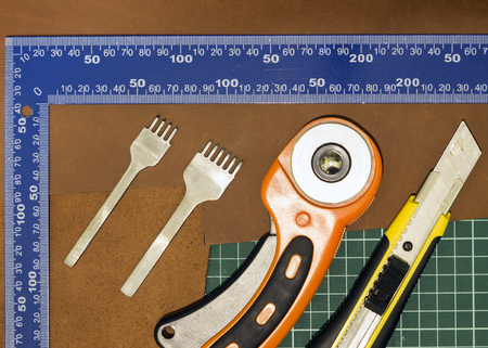 tools and materials for leather sewing