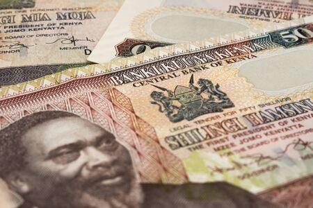 50 Kenia-Schilling, Nahaufnahme, Fragment einer Banknote Standard-Bild