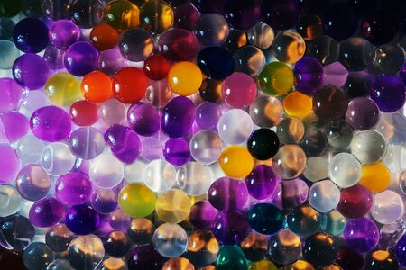 Color balls, hydrogel beads. Abstract.