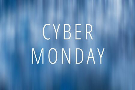 Cyber Monday lettering on blue blurred background. Minimalism.