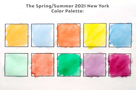 Set of multicolored watercolor square. Set of 10 fashionable colors of fashion week for spring-summer 2021.