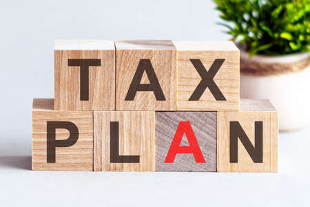 TAX PLAN word written on wood block. search engine optimization, Faqs text on table, concept.