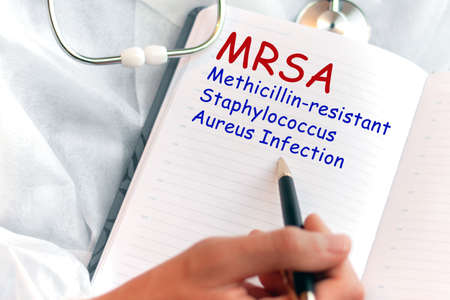 Doctor holding a card with text MRSA Methicillin-resistant Staphylococcus Aureus Infection medical concept.