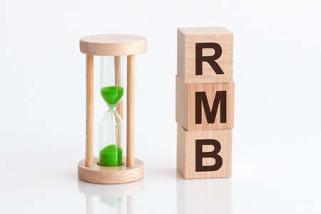 Close-up of an hourglass next to wooden blocks with the text RMB - Renminbi, white backgrounds