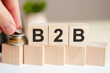 The word B2B written on wood cubes. A man's hand places the coins on the surface of the cube. Green plant in a flower pot on the background. B2B - short for Business to Business, business concept.