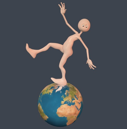 Man falls from a ball. Dark