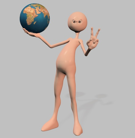 A man holding a planet. Gray Stock Photo - 9333187