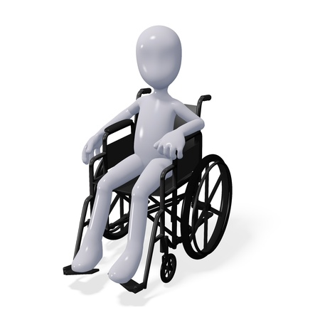 emergency services: three-dimensional man sits in a wheelchair