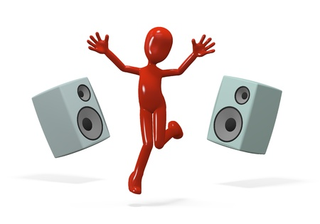 three-dimensional people jumping from the music speakers Stock Photo