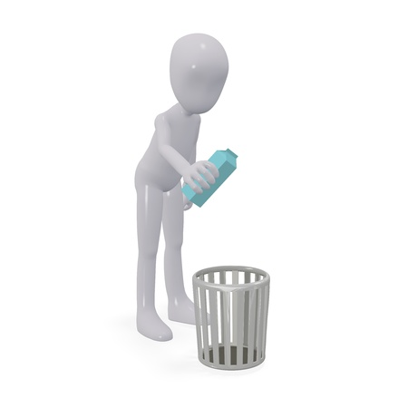 Three-dimensional people throw trash in the basket