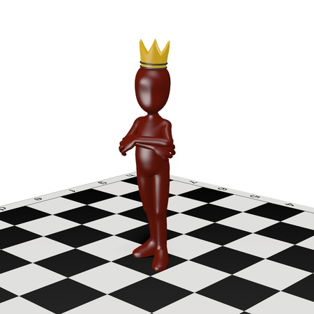 A man wearing a crown standing on a chessboard. 3d render