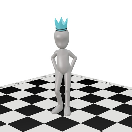 The white man invents chess strategy. 3d render