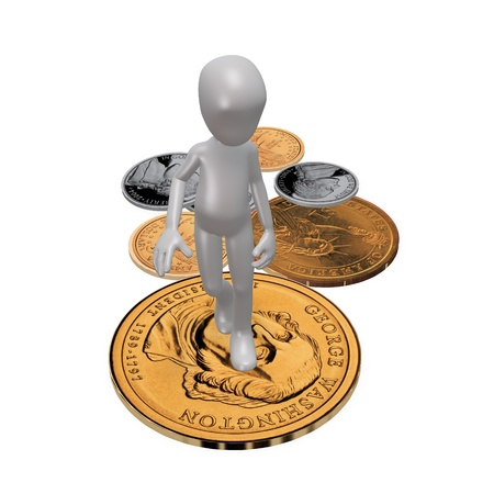 The man is lying on the coins. 3d render Stock Photo
