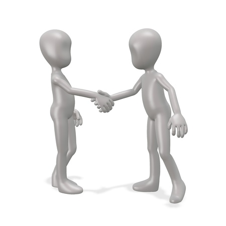 The man shakes hands with a friend. 3d render photo