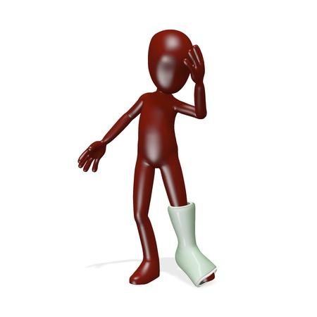 jambe cass�e: Un homme avec une jambe cass�e. rendu 3D