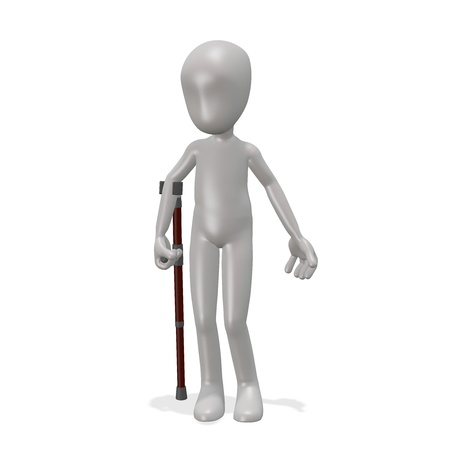 The man is leaning on a crutch. 3d render Stock Photo