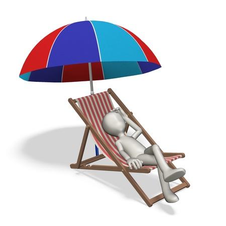 Man sunbathing on the beach. 3d render