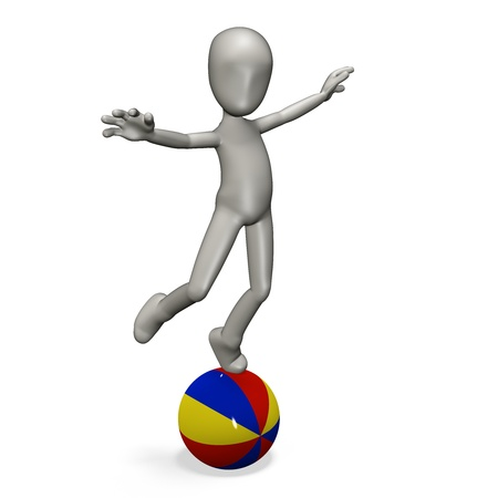 a man stands on beach ball. 3d rendering