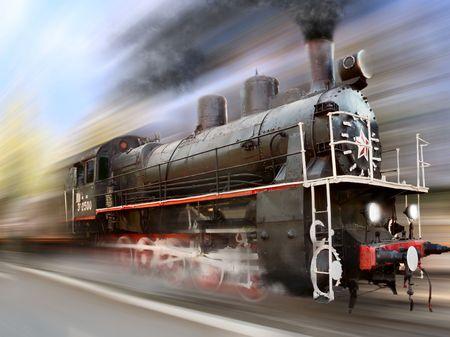 locomotora: m�quina de vapor, locomotora en el desenfoque de movimiento