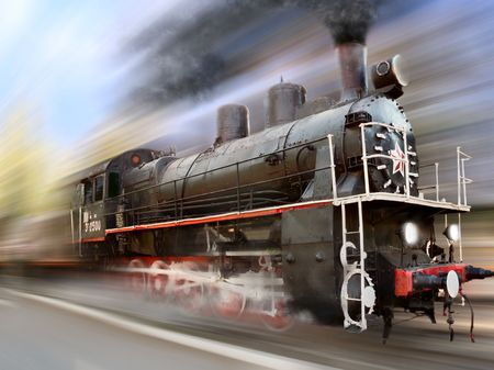 diesel train: steam engine, locomotive in motion blur Stock Photo