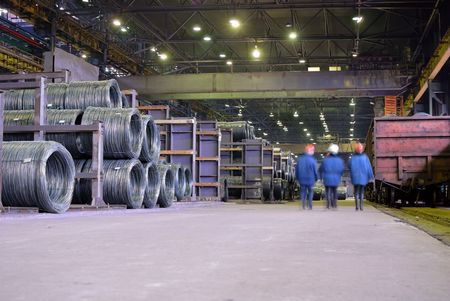 factory machine: industrial storehouse in metallurgical plant