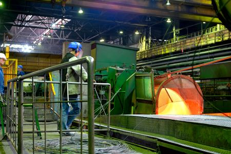 metallurgical plant, rolled wire, rod production  photo