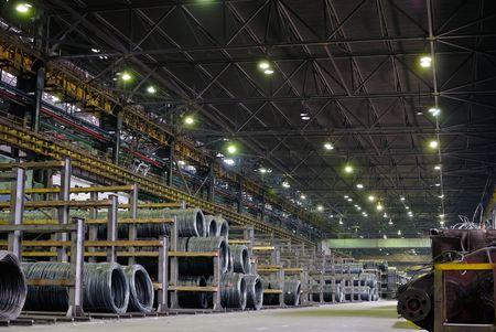 handling: industrial metallurgical storehouse, warehouse Stock Photo