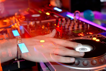 live entertainment: DJ at work, disco party Stock Photo