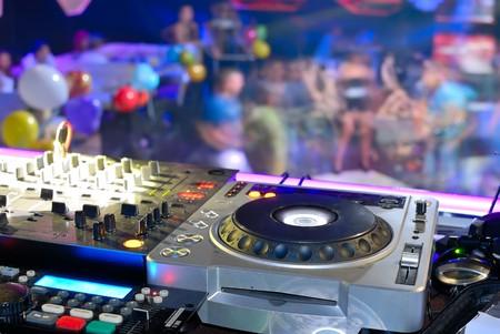 DJs deck abothe the dancefloor, disco patry photo